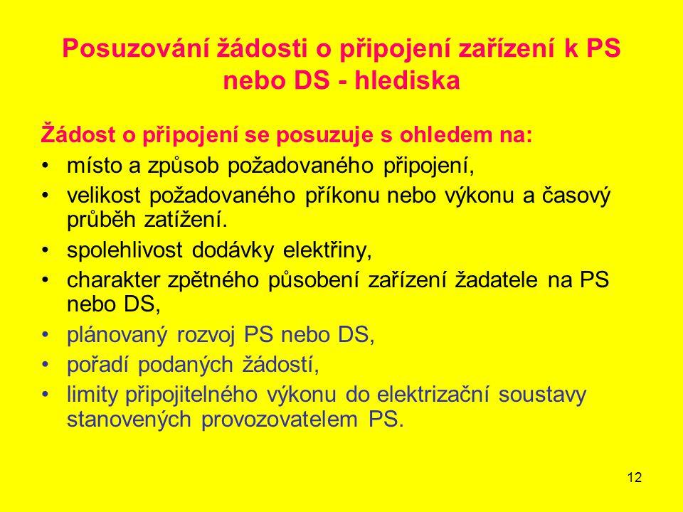 Posuzování žádosti o připojení zařízení k PS nebo DS - hlediska