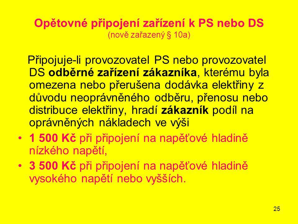 Opětovné připojení zařízení k PS nebo DS (nově zařazený § 10a)
