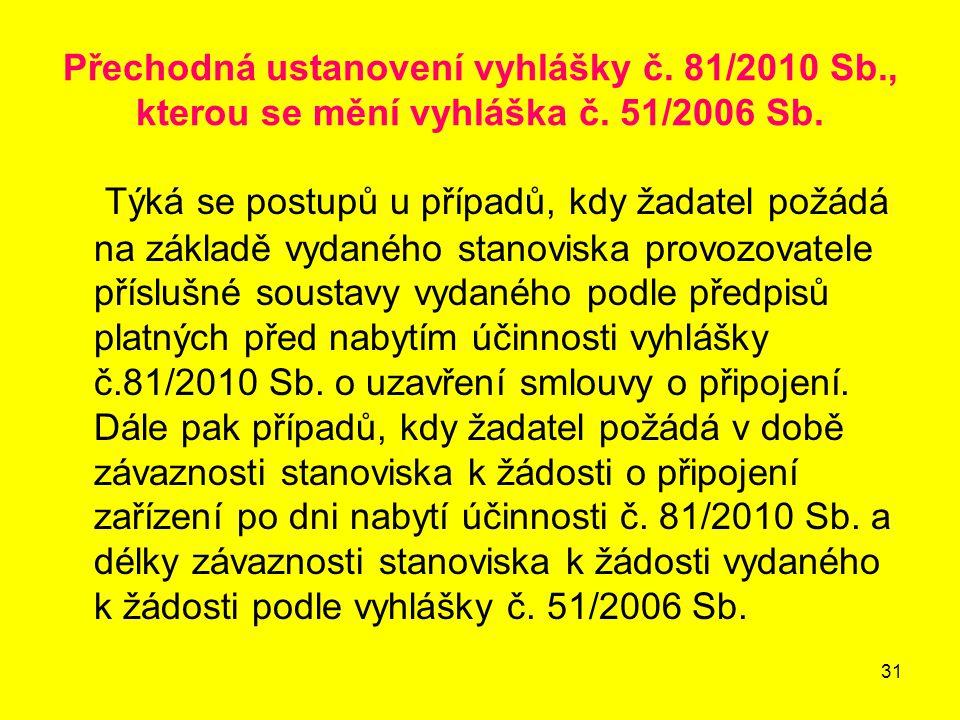 Přechodná ustanovení vyhlášky č. 81/2010 Sb