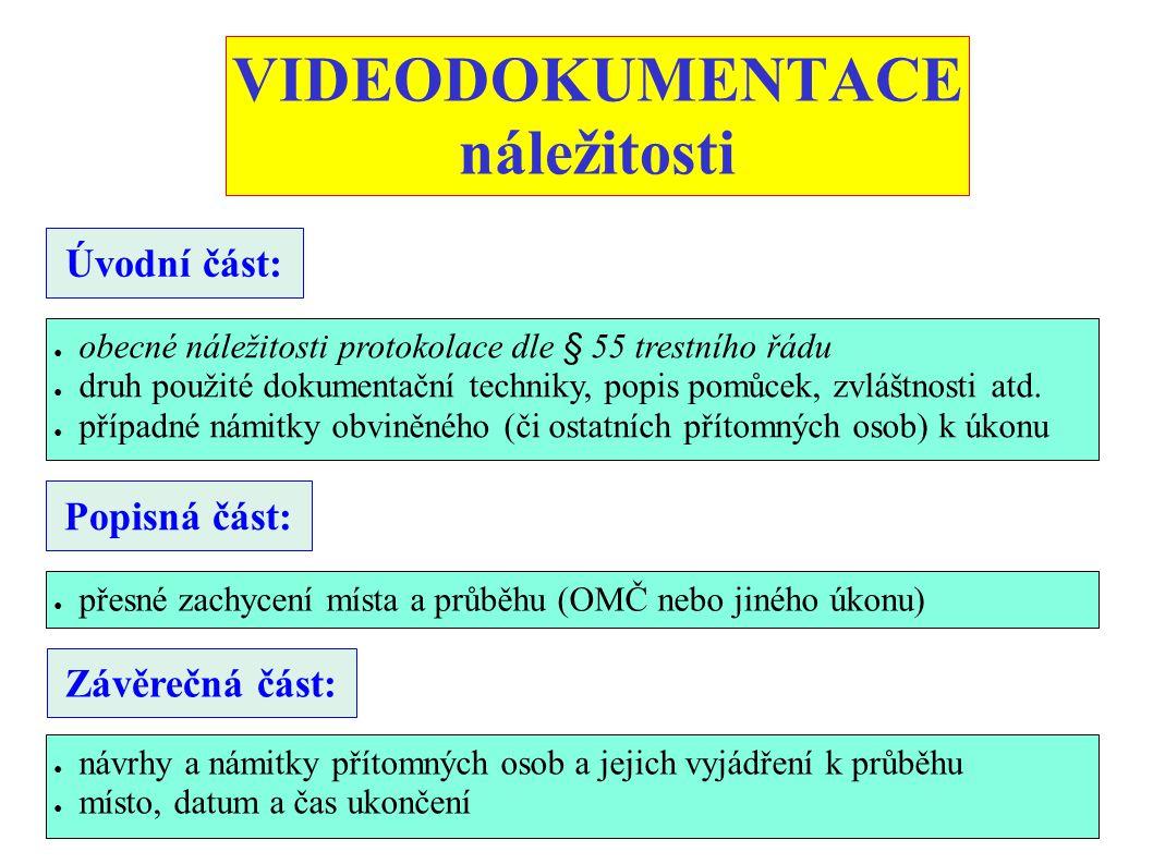 VIDEODOKUMENTACE náležitosti
