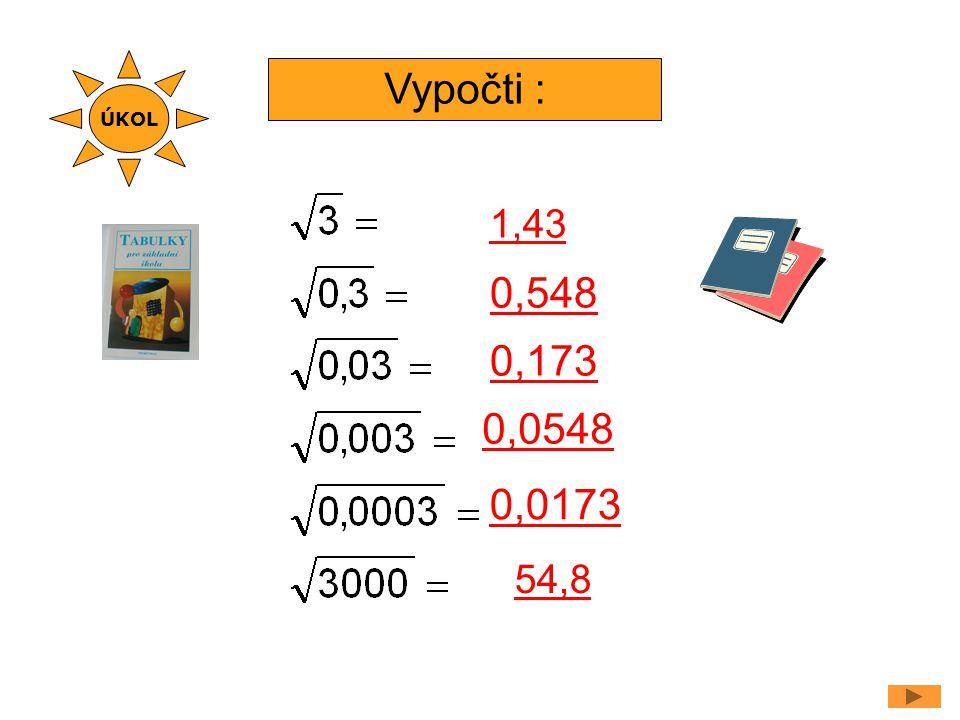 ÚKOL Vypočti : 1,43 0,548 0,173 0,0548 0,0173 54,8