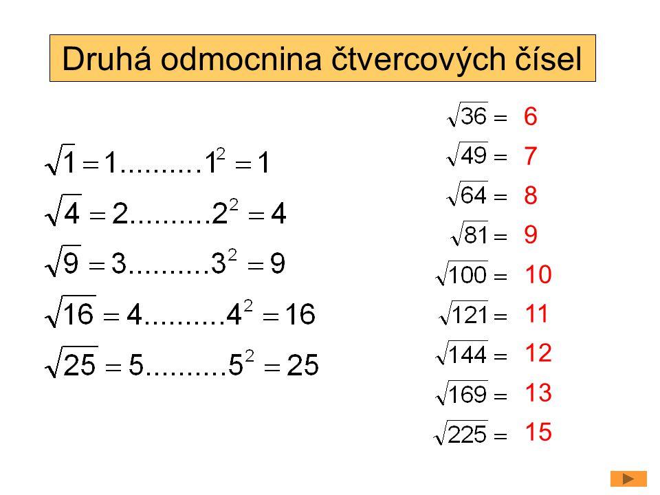 Druhá odmocnina čtvercových čísel