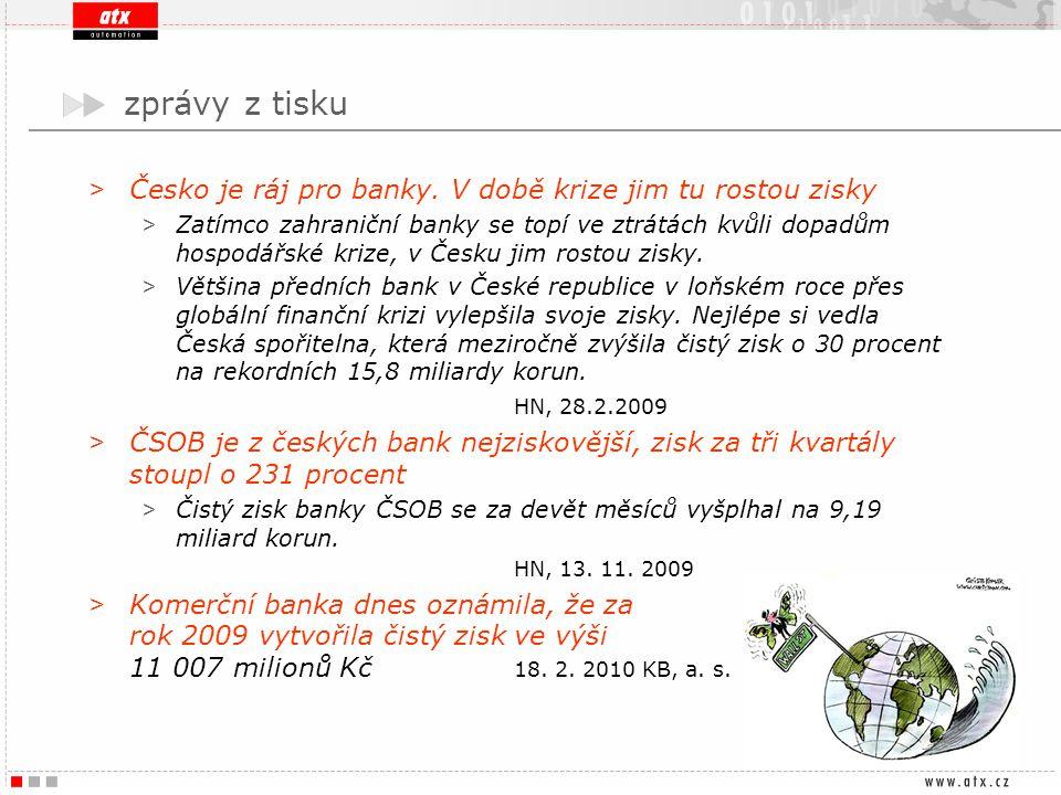 zprávy z tisku Česko je ráj pro banky. V době krize jim tu rostou zisky.