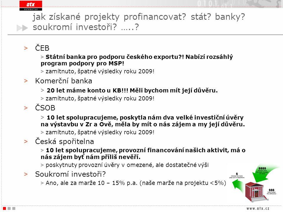 jak získané projekty profinancovat stát banky soukromí investoři …..
