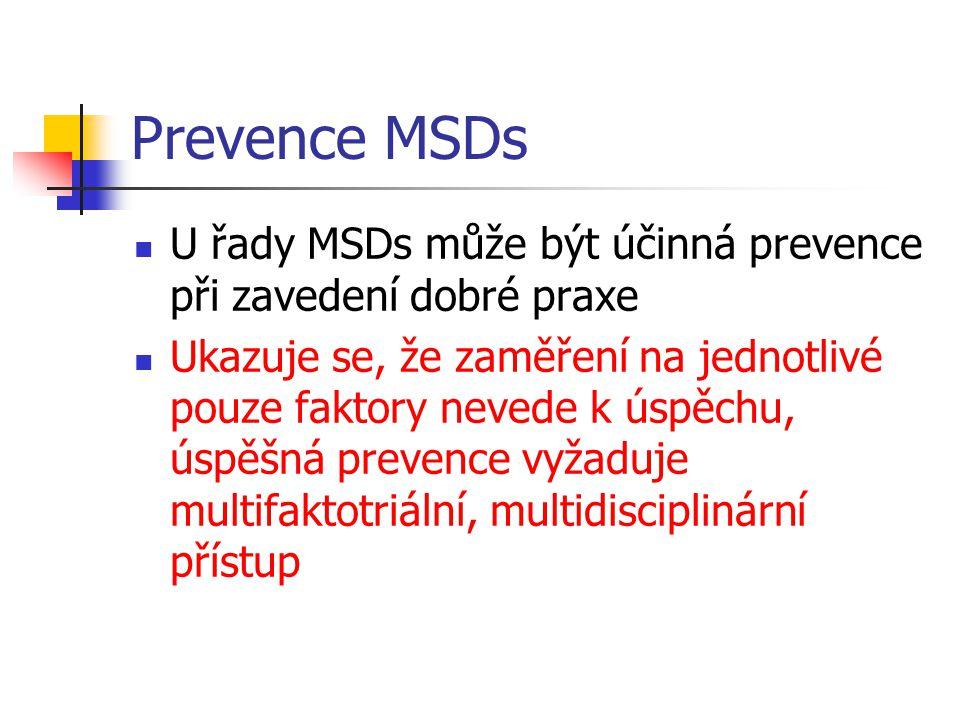 Prevence MSDs U řady MSDs může být účinná prevence při zavedení dobré praxe.