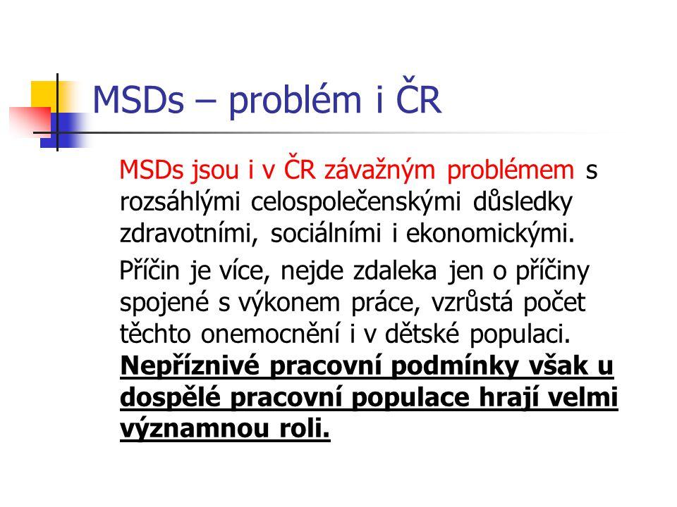 MSDs – problém i ČR MSDs jsou i v ČR závažným problémem s rozsáhlými celospolečenskými důsledky zdravotními, sociálními i ekonomickými.