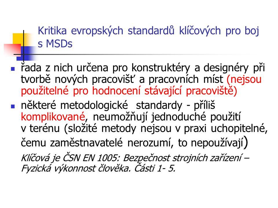 Kritika evropských standardů klíčových pro boj s MSDs