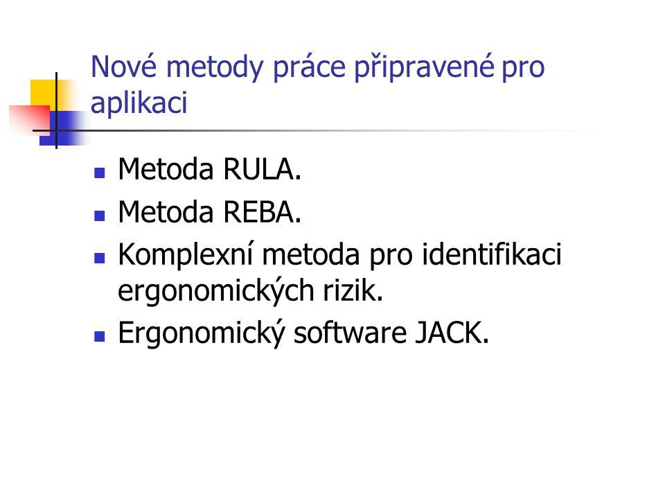 Nové metody práce připravené pro aplikaci