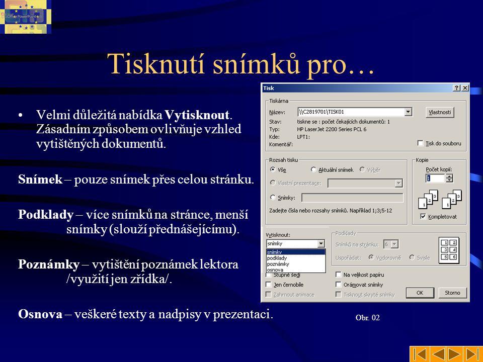 Tisknutí snímků pro… Velmi důležitá nabídka Vytisknout. Zásadním způsobem ovlivňuje vzhled vytištěných dokumentů.