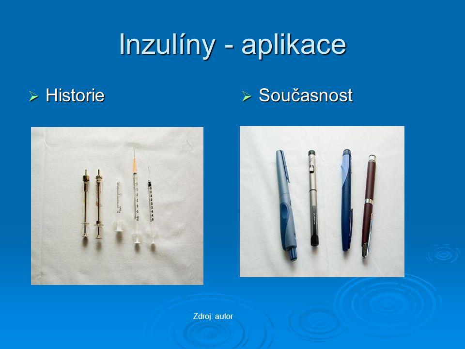 Inzulíny - aplikace Historie Současnost Zdroj: autor