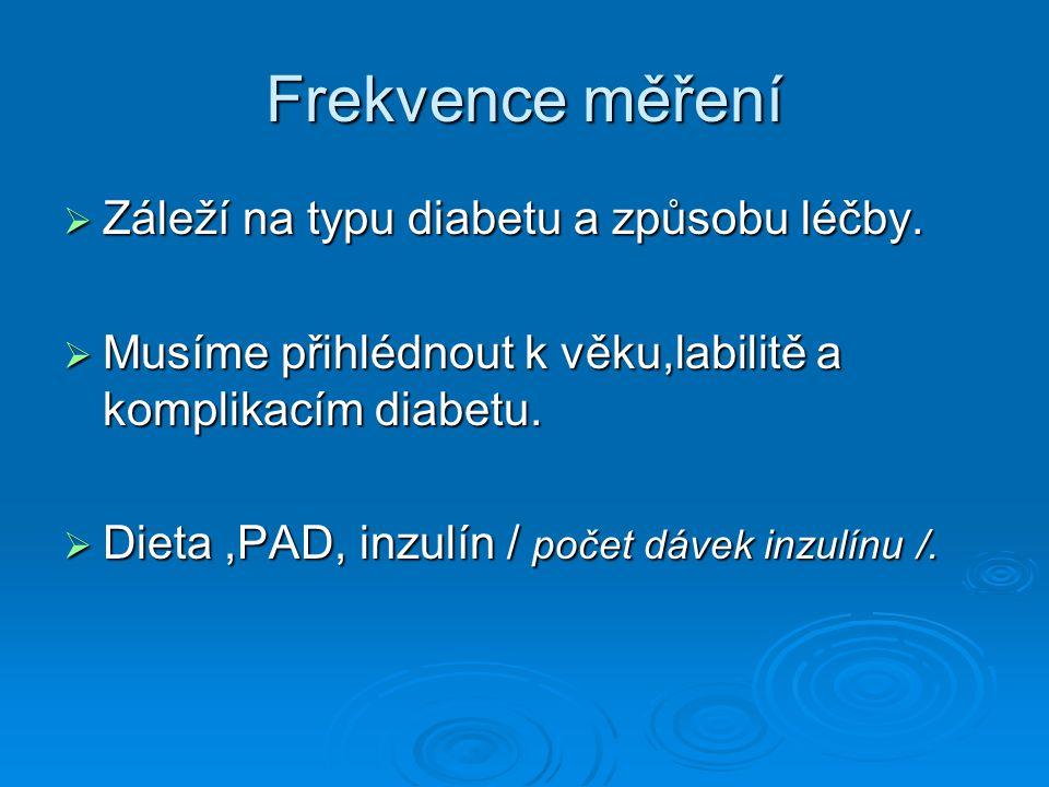 Frekvence měření Záleží na typu diabetu a způsobu léčby.