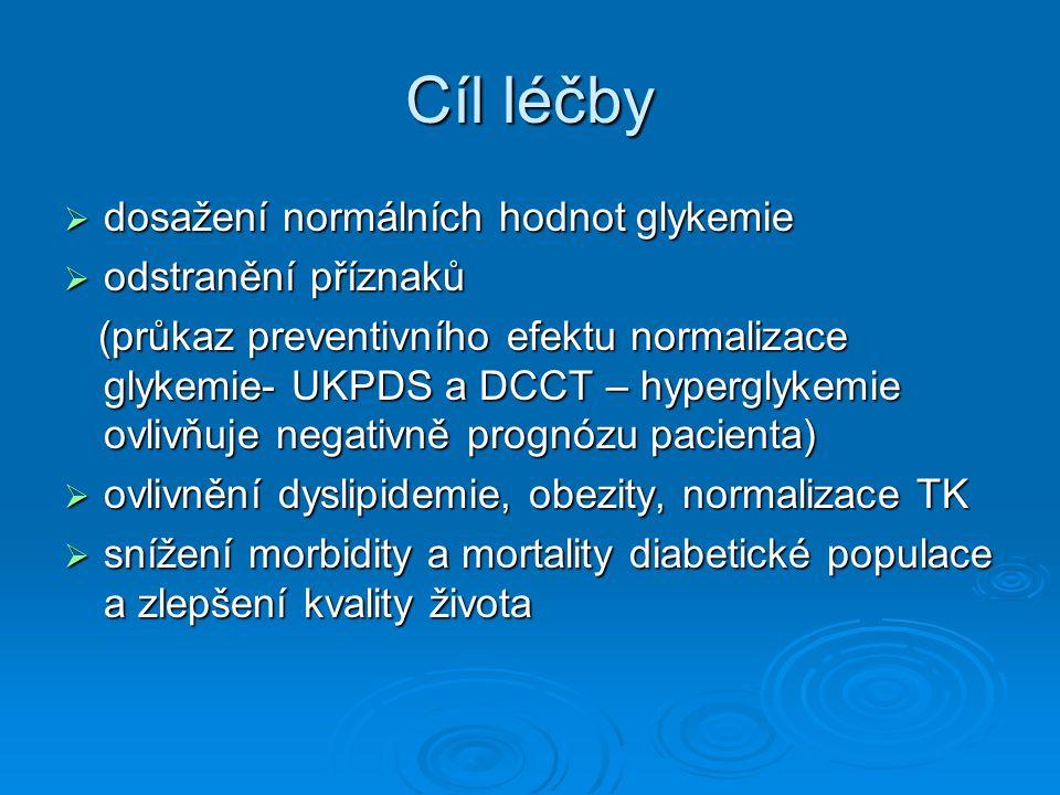 Cíl léčby dosažení normálních hodnot glykemie odstranění příznaků