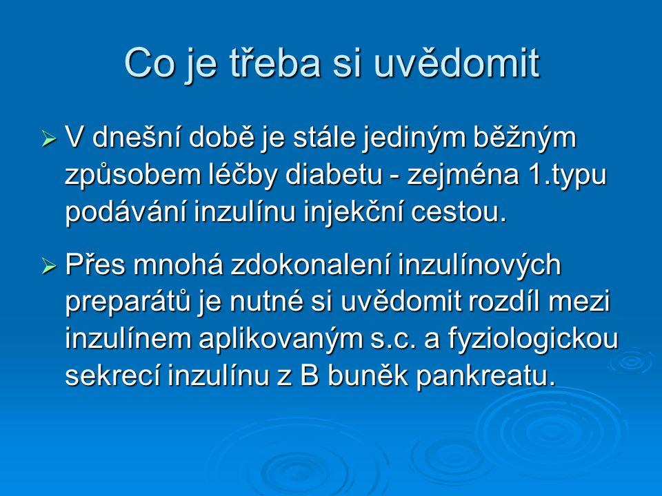 Co je třeba si uvědomit V dnešní době je stále jediným běžným způsobem léčby diabetu - zejména 1.typu podávání inzulínu injekční cestou.