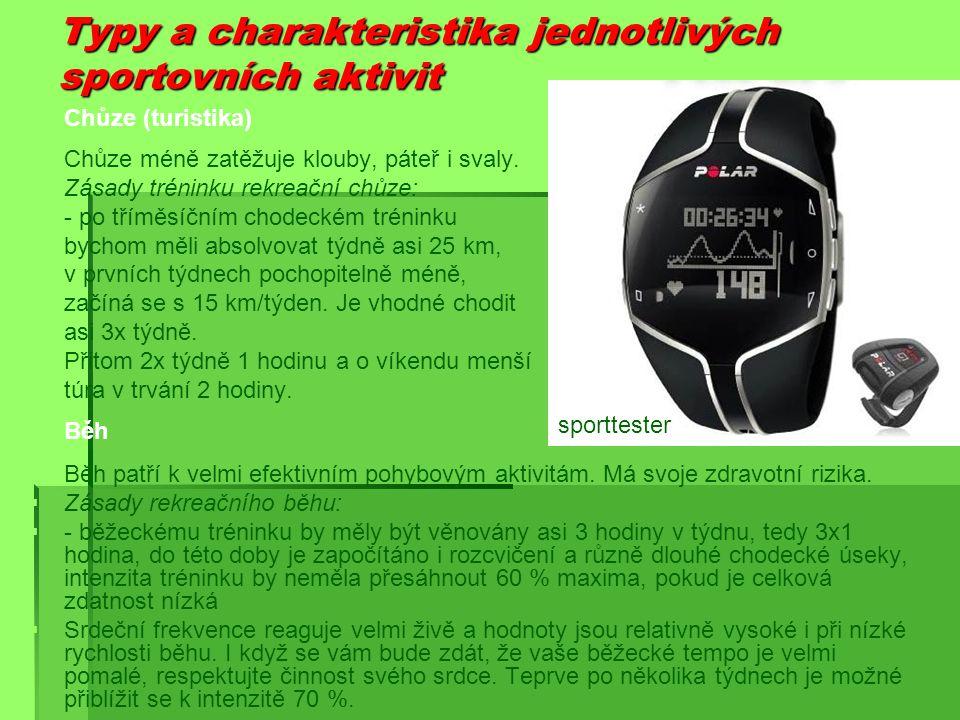 Typy a charakteristika jednotlivých sportovních aktivit