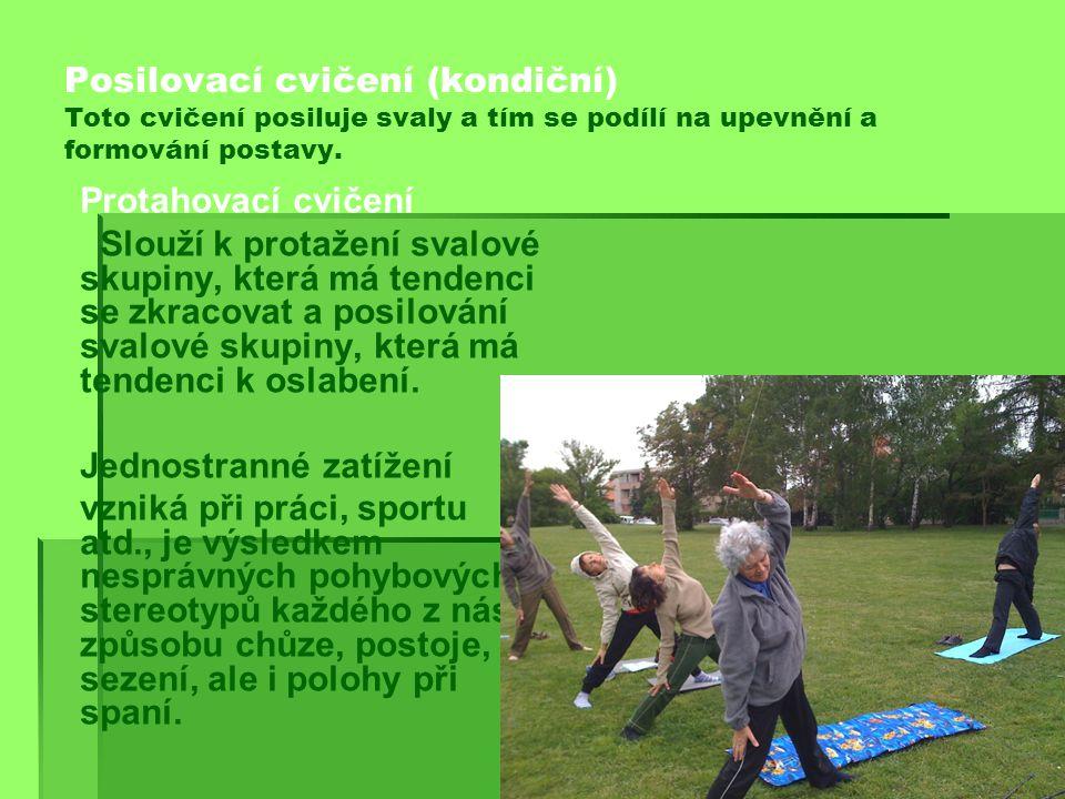 Posilovací cvičení (kondiční) Toto cvičení posiluje svaly a tím se podílí na upevnění a formování postavy.