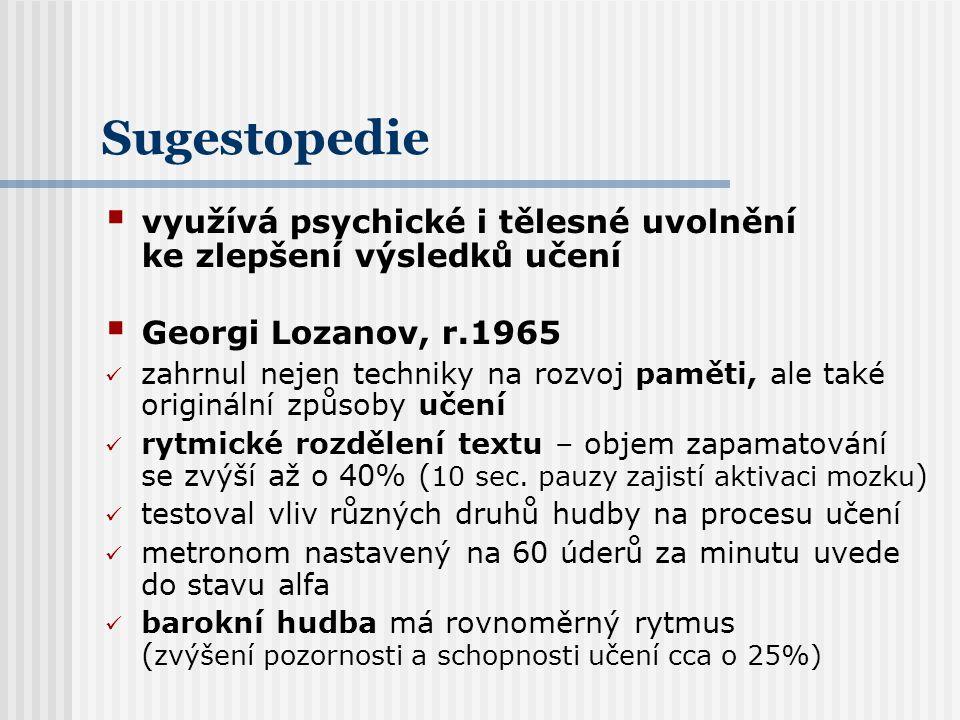 Sugestopedie využívá psychické i tělesné uvolnění ke zlepšení výsledků učení. Georgi Lozanov, r.1965.