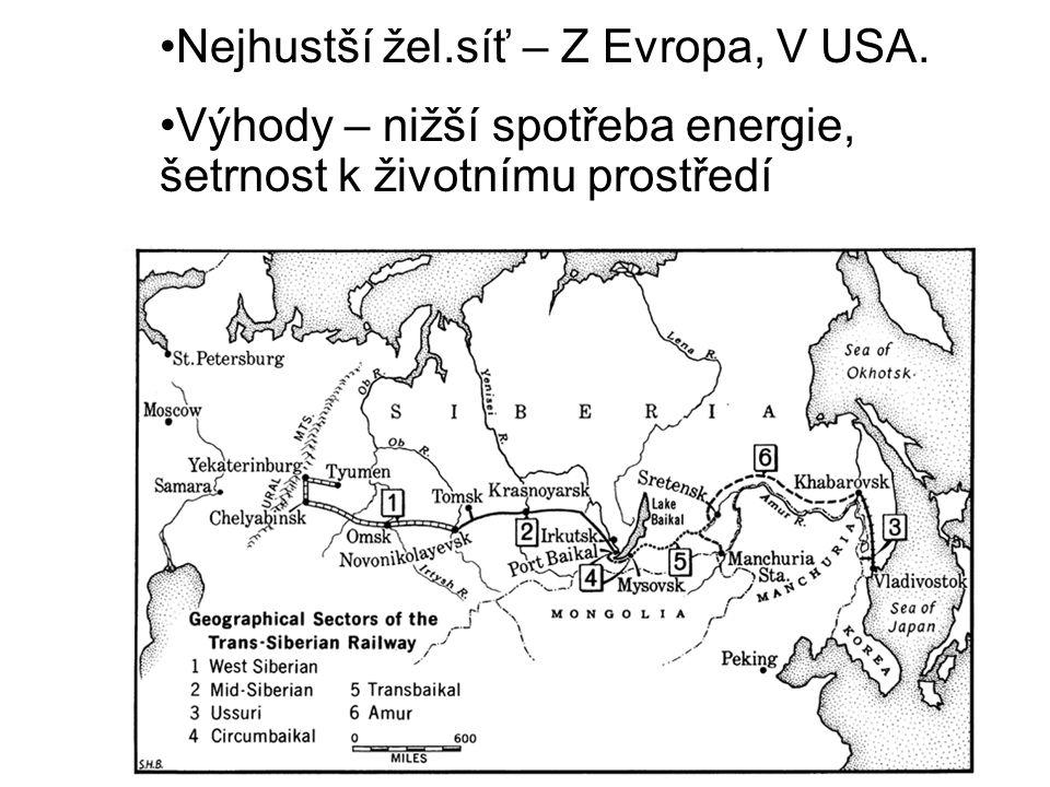 Nejhustší žel.síť – Z Evropa, V USA.