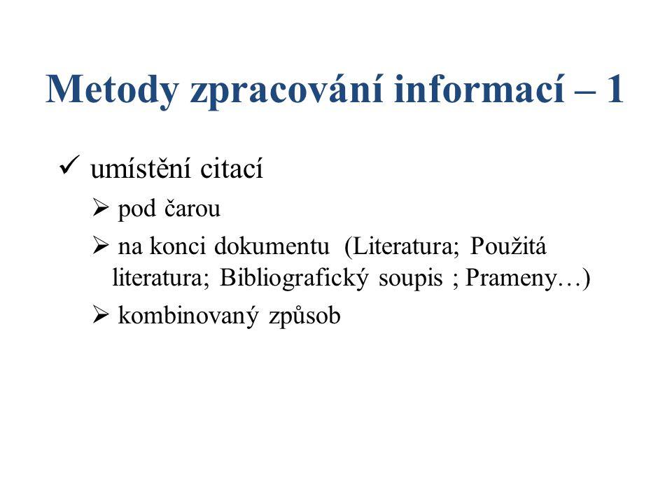Metody zpracování informací – 1