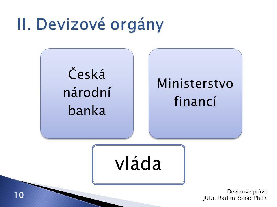 vláda II. Devizové orgány Česká národní banka Ministerstvo financí 10