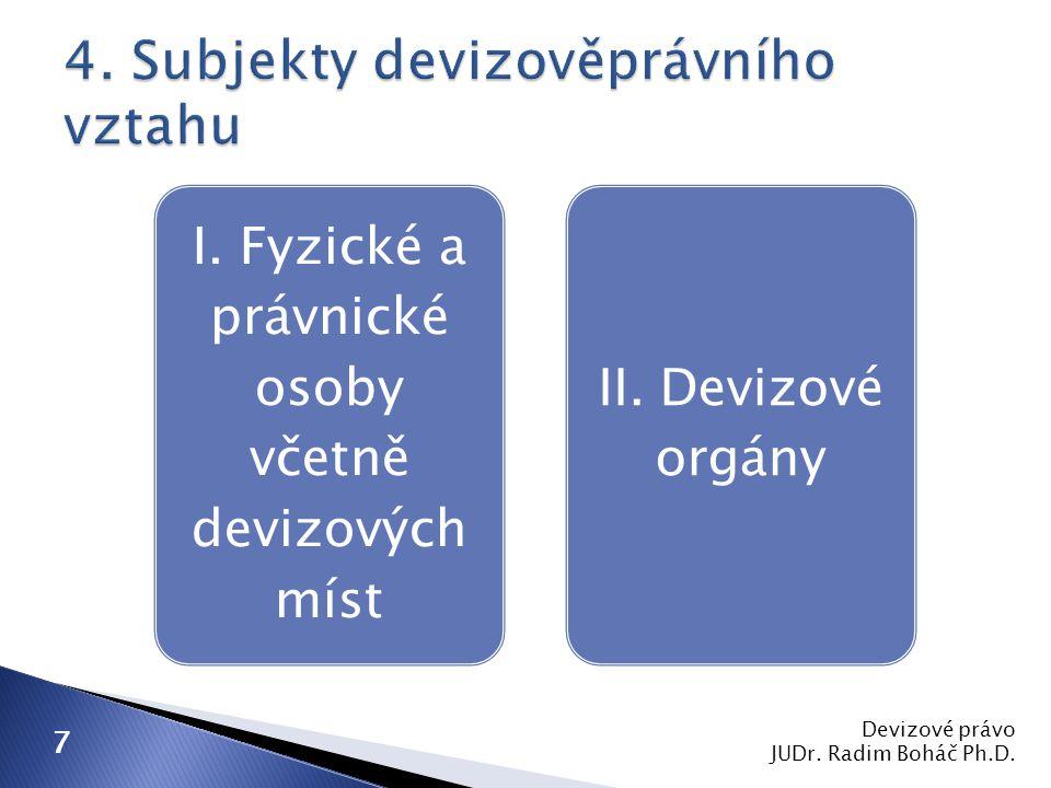 4. Subjekty devizověprávního vztahu