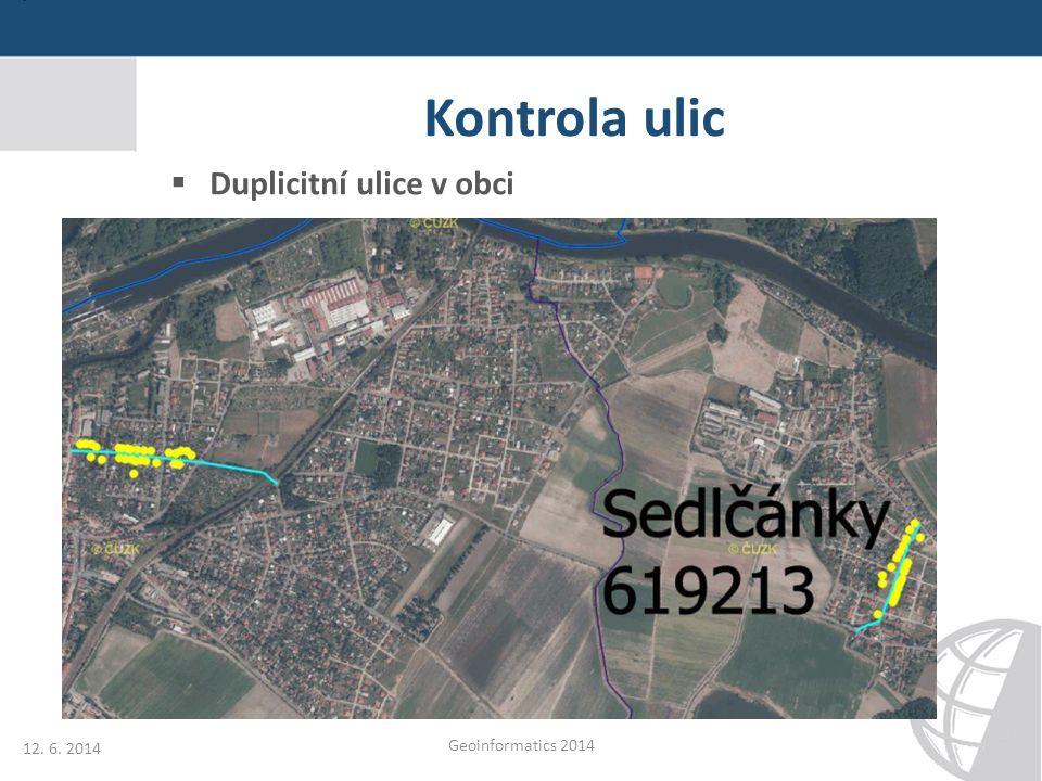 Kontrola ulic Duplicitní ulice v obci 12. 6. 2014 Geoinformatics 2014