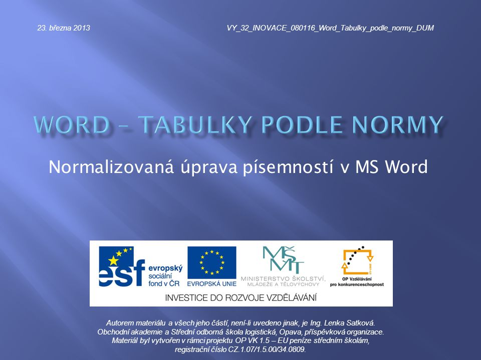 word – Tabulky podle normy