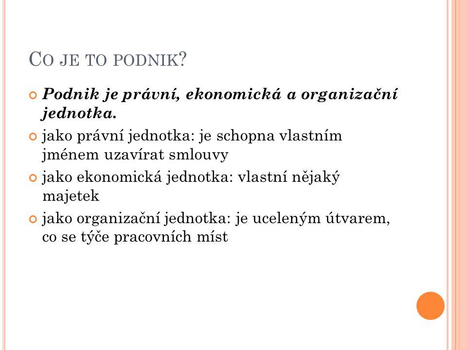 Co je to podnik Podnik je právní, ekonomická a organizační jednotka.