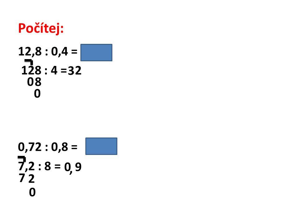 Počítej: 12,8 : 0,4 = /. 10 128 : 4 = 0,72 : 0,8 = / . 10 7,2 : 8 = 3 2 8 9 , 7 2