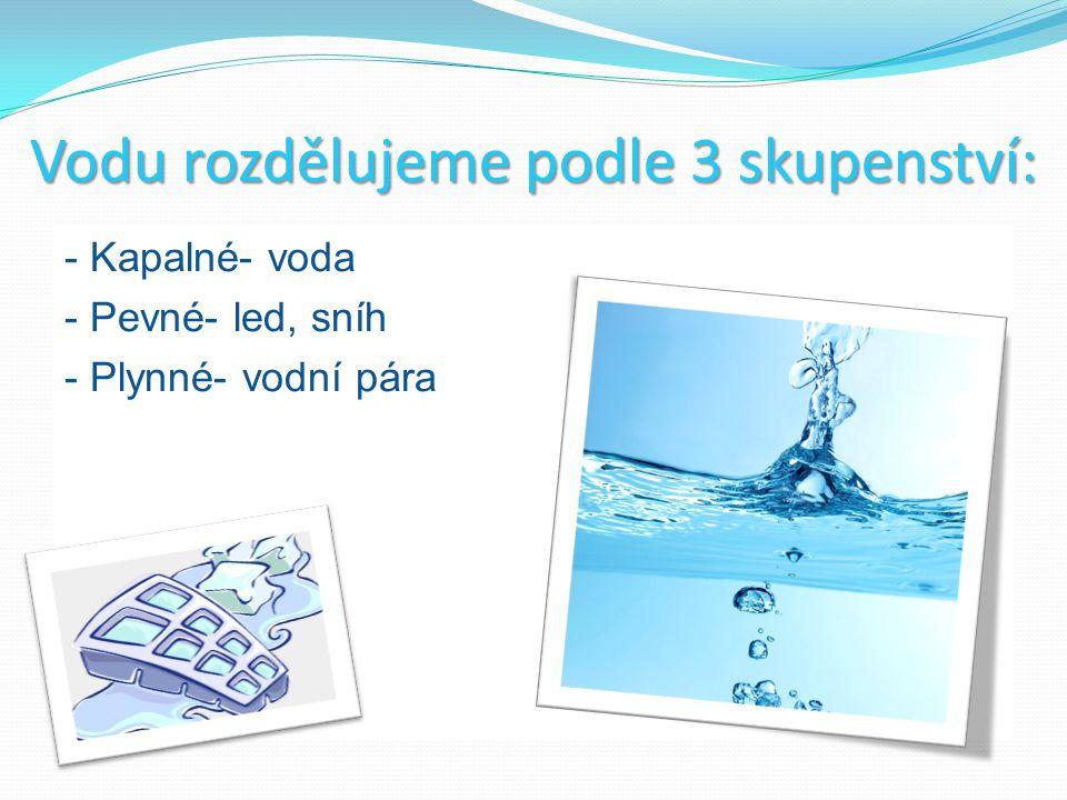 Vodu rozdělujeme podle 3 skupenství: