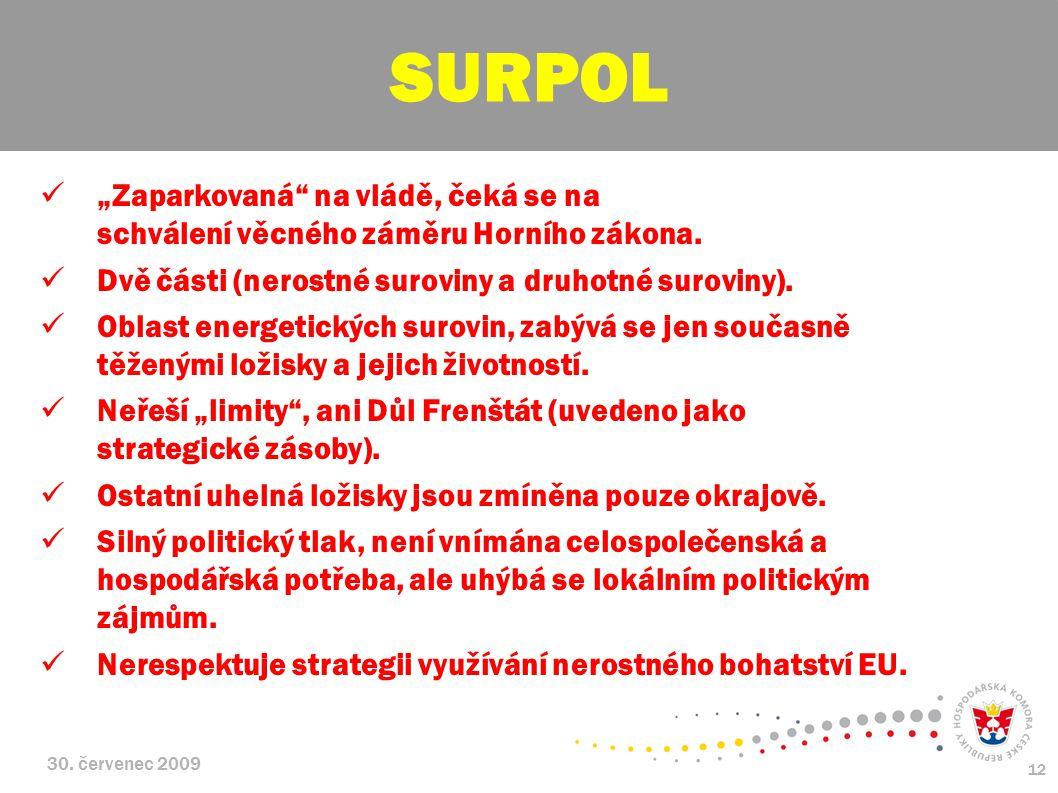 """SURPOL """"Zaparkovaná na vládě, čeká se na schválení věcného záměru Horního zákona. Dvě části (nerostné suroviny a druhotné suroviny)."""