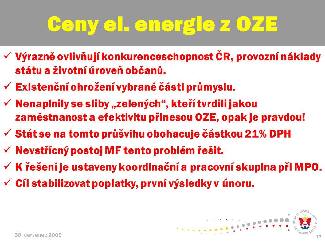 Ceny el. energie z OZE Výrazně ovlivňují konkurenceschopnost ČR, provozní náklady státu a životní úroveň občanů.
