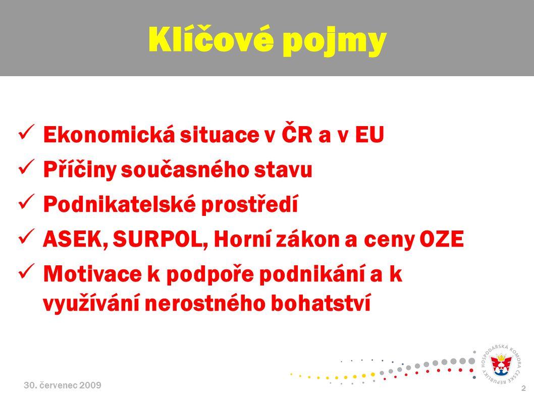 Klíčové pojmy Ekonomická situace v ČR a v EU Příčiny současného stavu