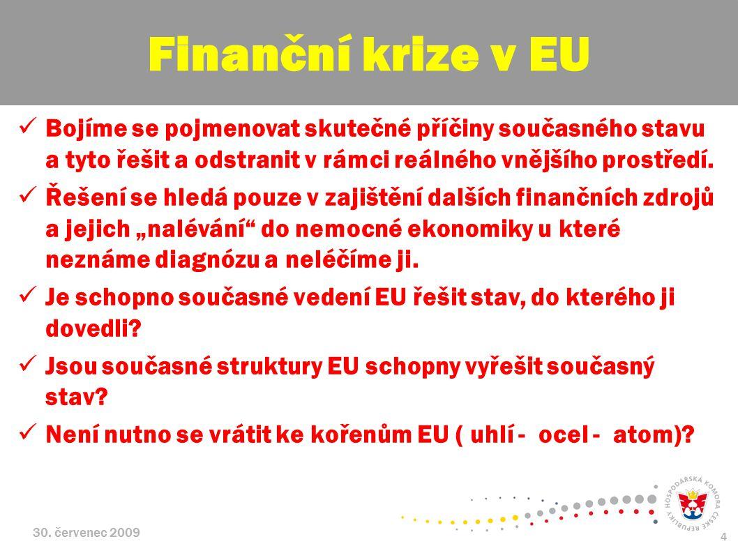 Finanční krize v EU Bojíme se pojmenovat skutečné příčiny současného stavu a tyto řešit a odstranit v rámci reálného vnějšího prostředí.