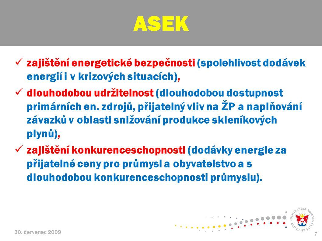 ASEK zajištění energetické bezpečnosti (spolehlivost dodávek energií i v krizových situacích),