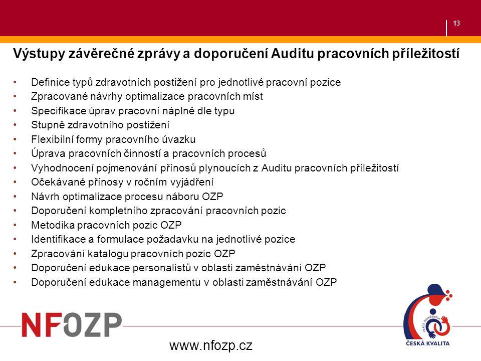 Výstupy závěrečné zprávy a doporučení Auditu pracovních příležitostí