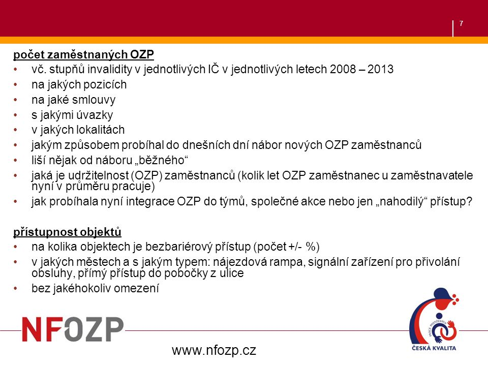 www.nfozp.cz počet zaměstnaných OZP