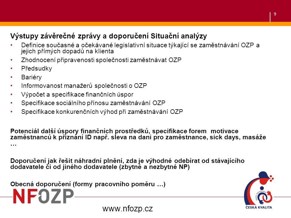 www.nfozp.cz Výstupy závěrečné zprávy a doporučení Situační analýzy