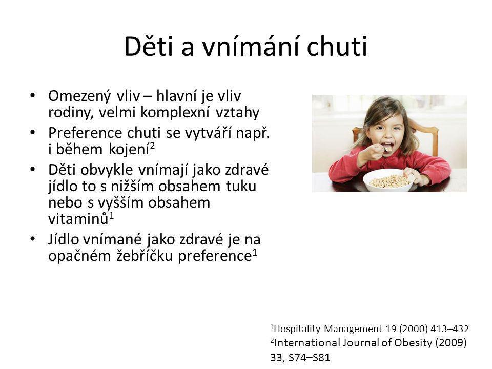 Děti a vnímání chuti Omezený vliv – hlavní je vliv rodiny, velmi komplexní vztahy. Preference chuti se vytváří např. i během kojení2.