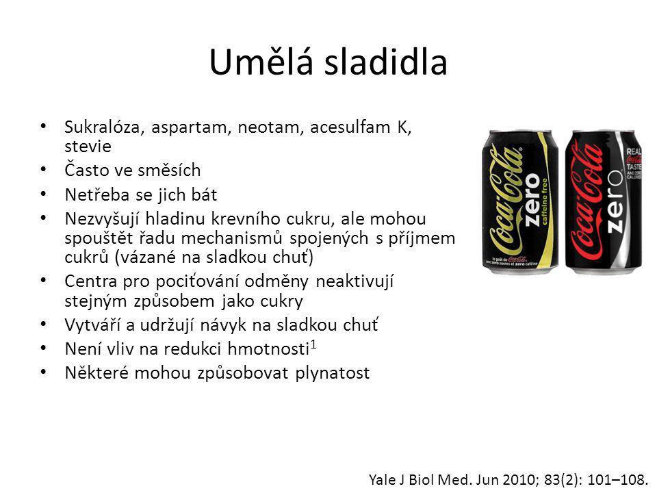 Umělá sladidla Sukralóza, aspartam, neotam, acesulfam K, stevie