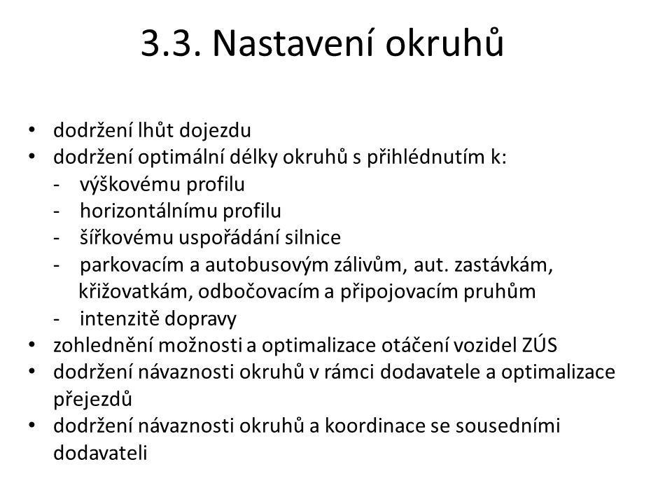 3.3. Nastavení okruhů dodržení lhůt dojezdu