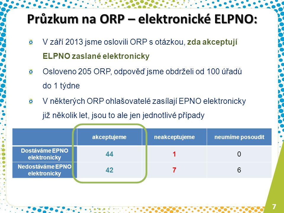 Průzkum na ORP – elektronické ELPNO: