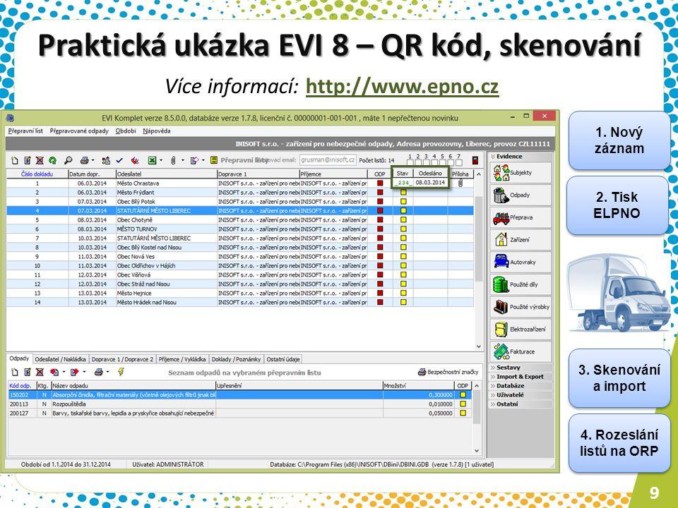 Praktická ukázka EVI 8 – QR kód, skenování