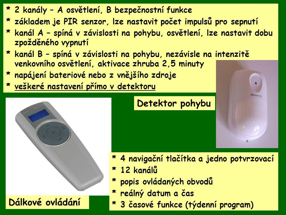 Detektor pohybu Dálkové ovládání