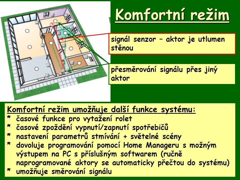 Komfortní režim Komfortní režim umožňuje další funkce systému: