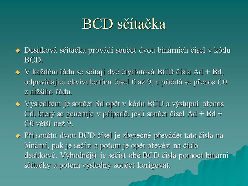 BCD sčítačka Desítková sčítačka provádí součet dvou binárních čísel v kódu BCD.