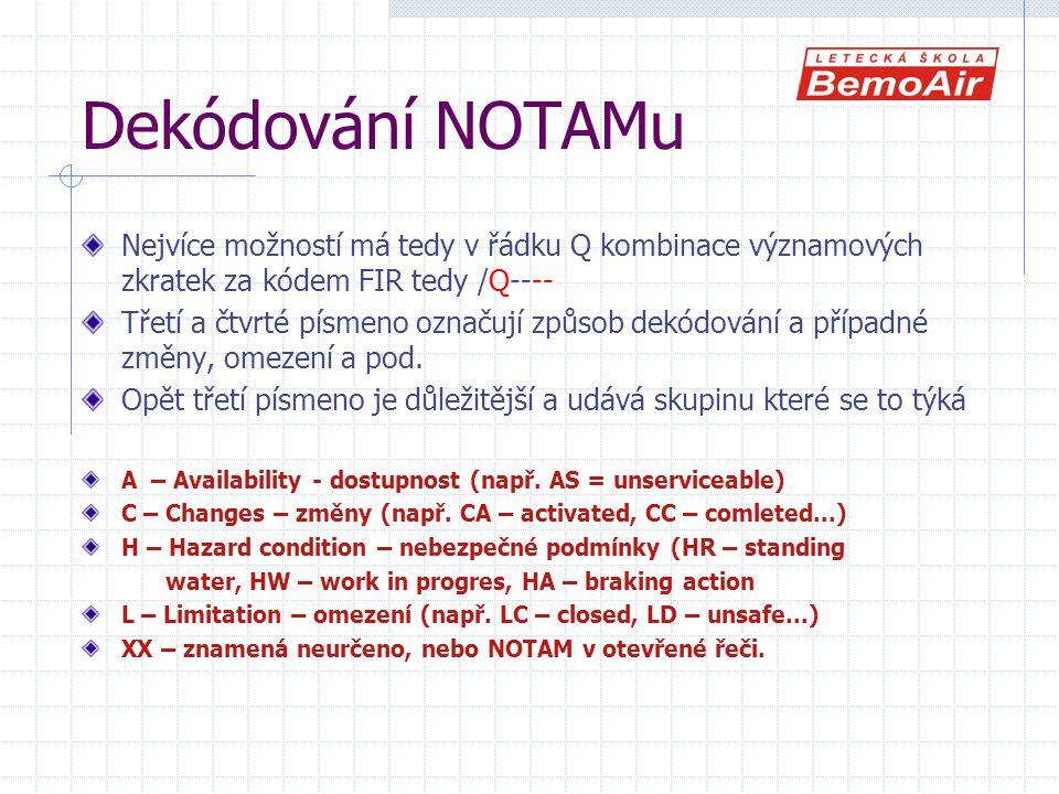 Dekódování NOTAMu Nejvíce možností má tedy v řádku Q kombinace významových zkratek za kódem FIR tedy /Q----