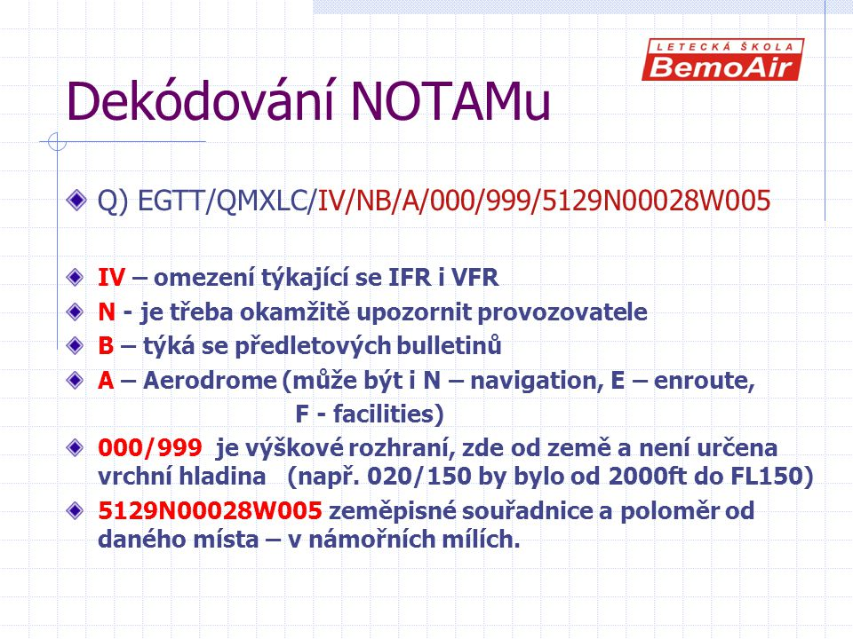 Dekódování NOTAMu Q) EGTT/QMXLC/IV/NB/A/000/999/5129N00028W005