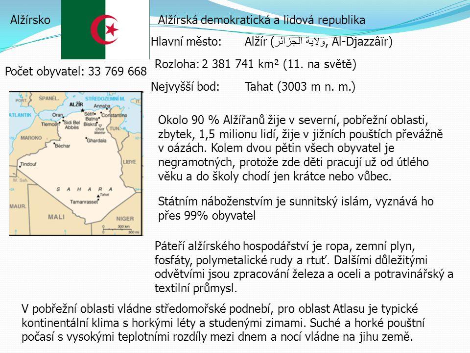 Alžírsko Alžírská demokratická a lidová republika. Hlavní město: Alžír (ولاية الجزائر, Al-Djazzâïr)