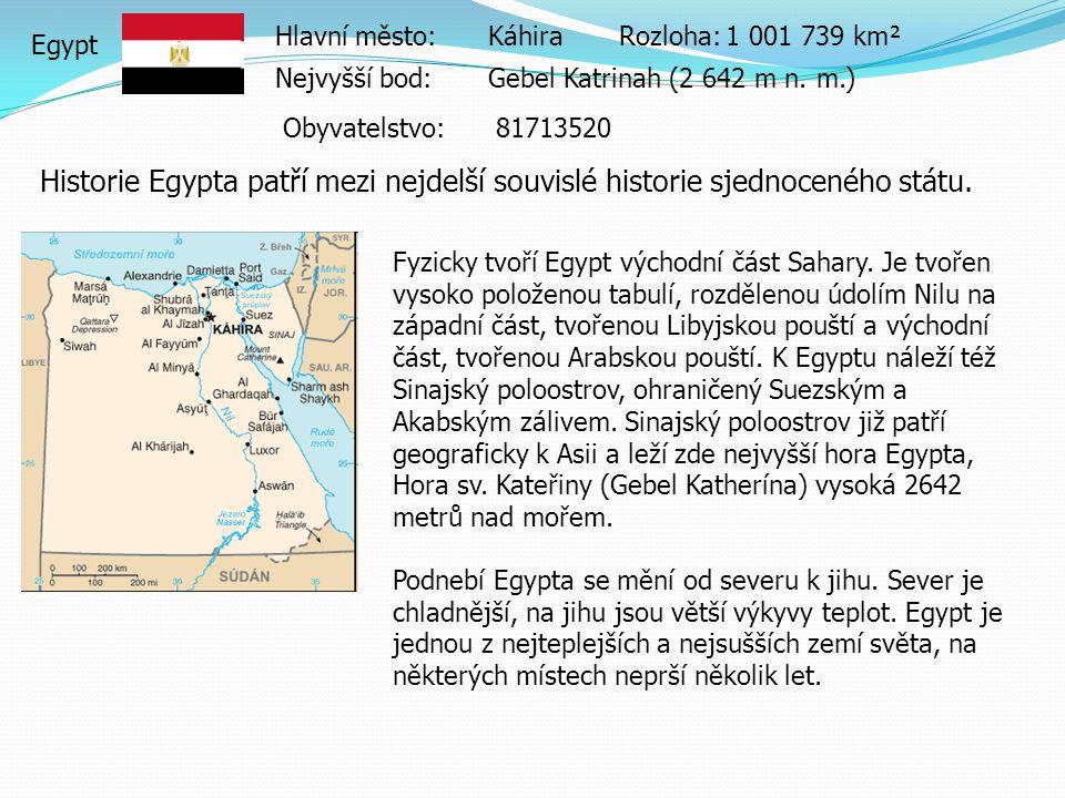 Hlavní město: Káhira Rozloha: 1 001 739 km². Egypt. Nejvyšší bod: Gebel Katrinah (2 642 m n. m.) Obyvatelstvo: 81713520.