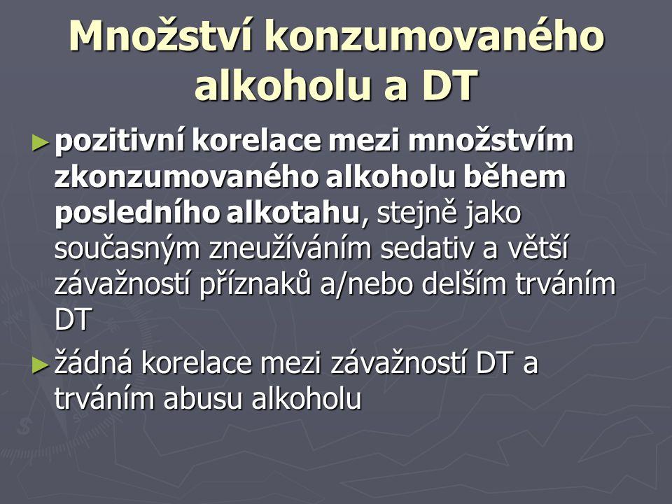 Množství konzumovaného alkoholu a DT